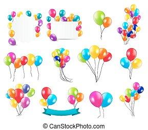 farbe, glänzend, luftballone, mega, satz, vektor, abbildung