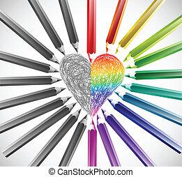 farbe, herz, vektor, pencils., abbildung