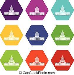 farbe, hexahedron, satz, kapitol, ikone