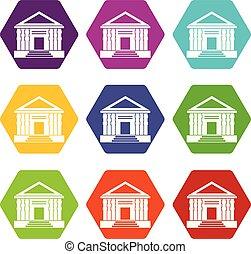 farbe, hexahedron, satz, kolonnade, ikone