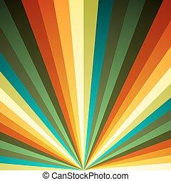 farbe, hintergrund., strahlen, vektor, strahlig