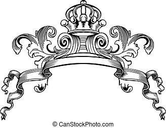 farbe, königliche krone, kurven, eins, weinlese, banner