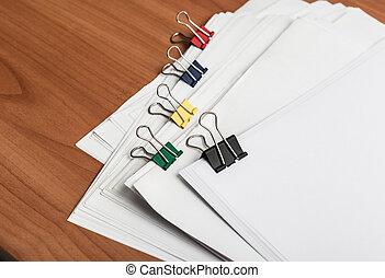 farbe, klammern, weißes, papier, dokument