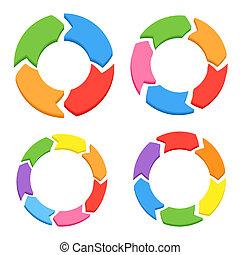 farbe, kreis, pfeile, set., vektor