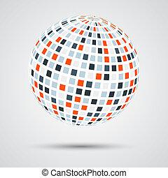 farbe, kugelförmig, abstrakt