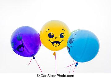 farbe, luftballone, freigestellt, weiß