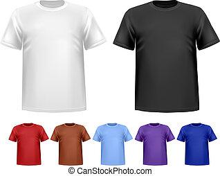 farbe, maenner, polo, schwarz, t-shirts., template., vektor...