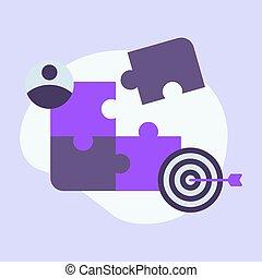 farbe, mannschaft, ikone, geschaeftswelt, puzzel, modern, freigestellt, ledig, lila