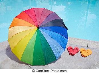 farbe, pleiten, schirm, schnellen, teich