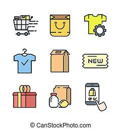 farbe, produkt, satz, ikone