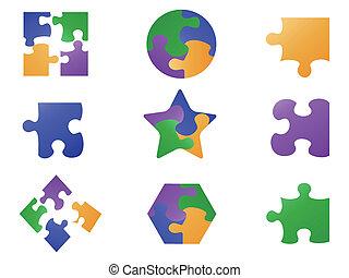 farbe, puzzel, stichsaege, ikone