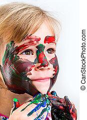 farbe, reizend, m�dchen, verwirren, paint.