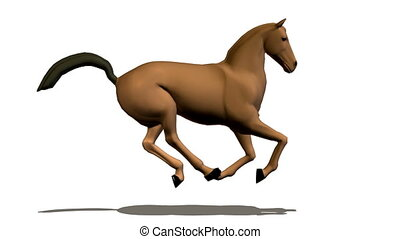 farbe, rennender , pferd