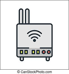 farbe, router, wifi, ikone