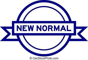 farbe, runder , banner, wort, neu , etikett, normal, weißes, weinlese, blauer hintergrund