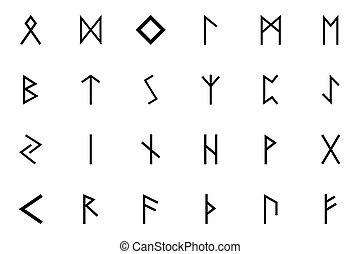 farbe, runes, briefe, symbol, skandinavien, schwarz, satz