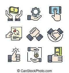 farbe, satz, hand, ikone