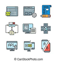 farbe, satz, kodierung, ikone