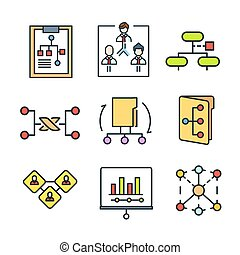farbe, satz, tabelle, ikone
