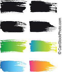 farbe, schlag, vektor, bürste, rahmen