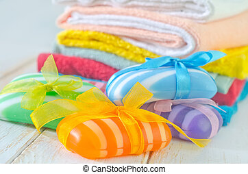 farbe, seife, handtücher