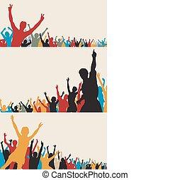 farbe, silhouetten, crowd