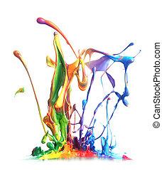 farbe, spritzen, bunte