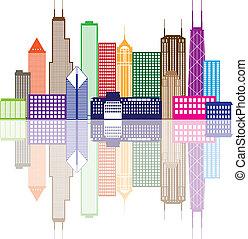 farbe, stadt skyline, abbildung, chicago