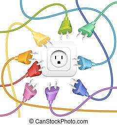 farbe, stecker, unordnung, steckdose, kabel
