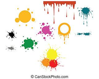 farbe, vektor, flecke