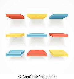 farbe, vektor, leerer , shelves.