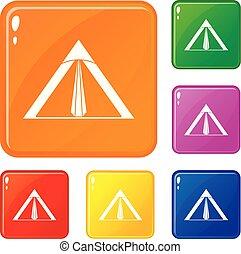 farbe, vektor, satz, zelt, heiligenbilder