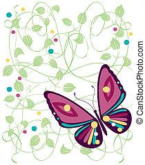 farbe, vlinders, fleck