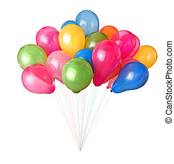 farbe, weißes, luftballone, freigestellt