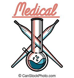 farbe, weinlese, medizin, marihuana, emblem