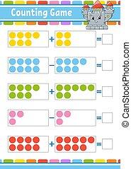 farbe, worksheet., entwickeln, children., subtraction., freigestellt, vektor, karikatur, aktivität, aufgabe, kids., spiel, illustration., lustiges, bildung, page., style., hinzufügung, character.