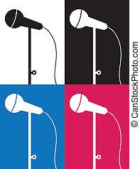 farben, mikrophon, silhouette