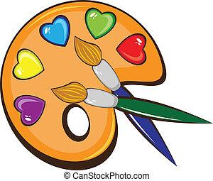 farben, palette, bürsten, kunst