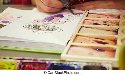 farben, skizze, zeichnung, aquarelle, künstler