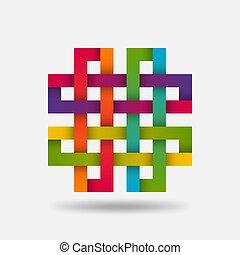 farben, steigung, knoten, solomon, regenbogen-symbol