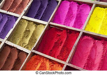 farben, tikka, verschieden, pulver, nepalese