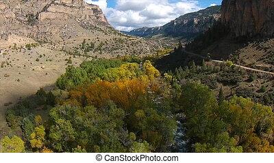 Farben,  Wyoming, Flüßchen,  tensleep, Herbst