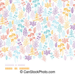 farbenfreudige blumen, und, betriebe, horizontal, seamless, muster, hintergrund