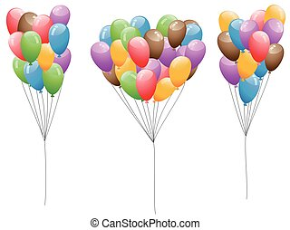 farbenprächtige luftballons, satz