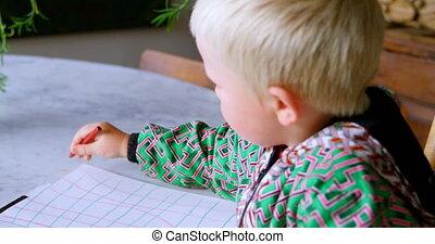 farbig, 4k, junge, zeichnung, papier, daheim, bundstift