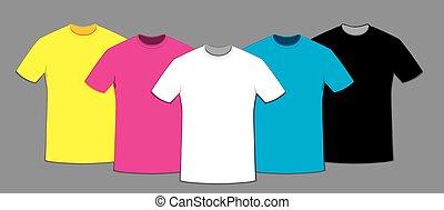 farbig, satz, t-shirts, schablone, leer