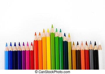 farbować ołówek, białe tło
