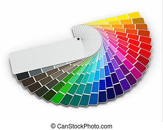 farbować paletę, białe tło, przewodnik