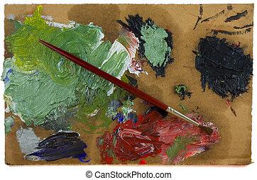 farbpalette, bürste, lackierer