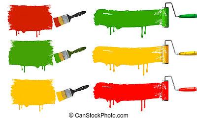farbpinsel, und, farbrolle, und, farbe, banners., vektor,...